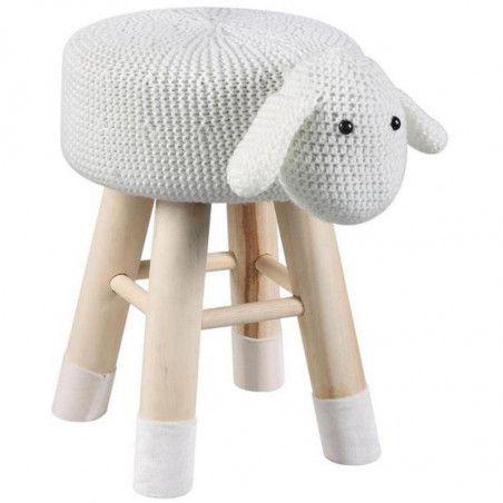 Pouf mouton pour enfant - Olla - L 28 x l 36 x H 42 cm - Blanc