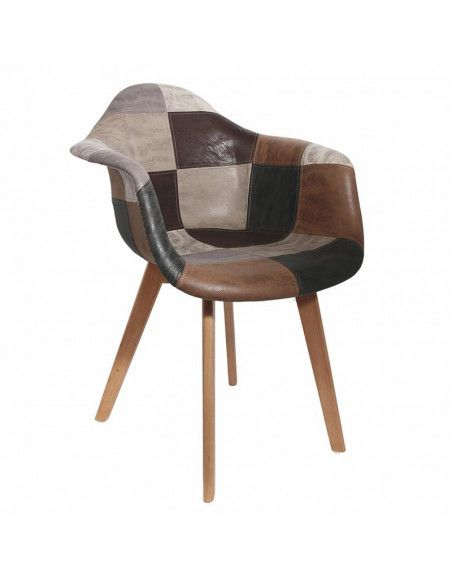 Fauteuil Cuir Synthétique  Scandinave Patchwork Marron et Gris  H 85 x P 60,5 x L 62 cm   Pieds en bois brut   Multicouleurs
