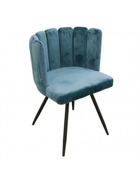 Chaise Ronde en Velours | L 53 x P 51 x H 80 cm | Bleu | Solide 4 Pieds en Métal