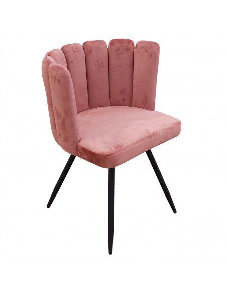 Chaise Ronde en Velours | L 53 x P 51 x H 80 cm | Rose | Solide 4 Pieds en Métal
