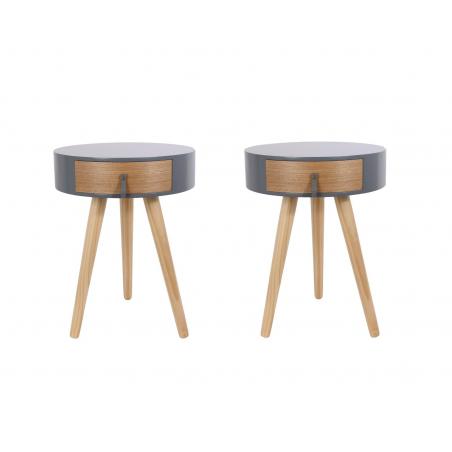 Lot de 2 tables de chevet en bois - Nora - D 34,5 x 47 cm - Gris