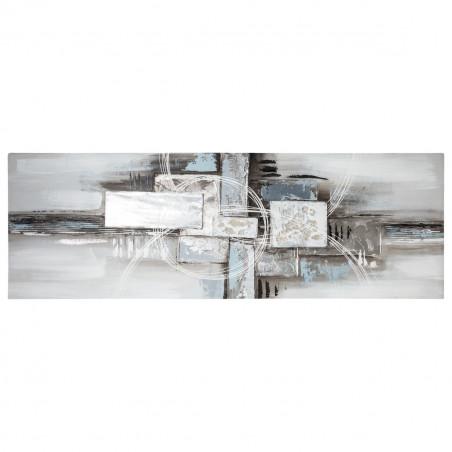 Toile murale abstraite - L 150 x P 3 cm x H 50 cm - Gris et bleu