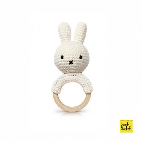 Anneau de dentition musicale - Miffy - L 10 x 4 x 4 cm - Blanc