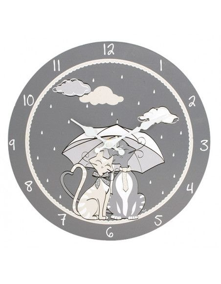 Horloge ambiance chat - 30 cm - Pendule en bois Umbrella