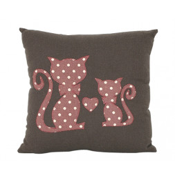 Coussin Honorine 30 x 30 cm - Marron - Chat