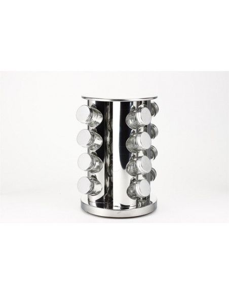 Présentoir pots à épices argenté - Rotatif - 16 pots
