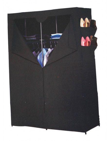 Armoire de rangement 2 étagères et penderie - Noir