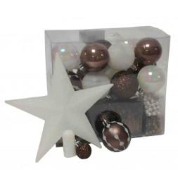 Kit de 44 décorations pour sapin - Taupe et blanc - Guirlandes, boules et cimier