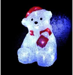 Décoration lumineuse Ourson avec bonnet - 30 LED blanc froid