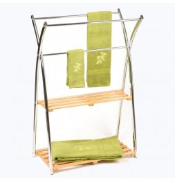 Porte serviettes en bambou et inox - 3 barres et 2 étagères - Rangement salle de bain