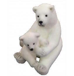 Figurine en forme d'ours et son bébé - Grand modèle - Blanc