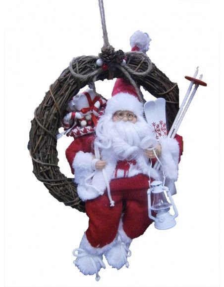 Couronne de Noël à suspendre - Père Noël
