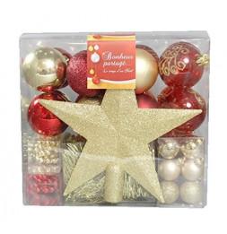 Kit de 44 décorations pour sapin - Rouge et or - Guirlandes, boules et cimier