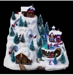 Village de Noël musical et lumineux à LED - Piste de ski animée