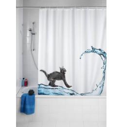 Rideau de douche blanc anti-moisissure - Wenko - design chat