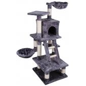 Arbre à chat - Gris - H 116 cm - 6 plateformes