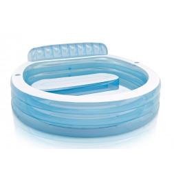 Piscine gonflable Aqua avec banc - L 224 x l 216 x H 76 cm