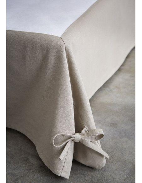 Cache sommier beige - 160 x 200 cm - Décoration sommier