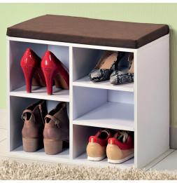 Meuble à chaussures d'intérieur - Banc blanc avec coussin pour l'entrée