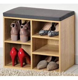 Meuble à chaussures d'intérieur - Banc en bois avec coussin pour l'entrée