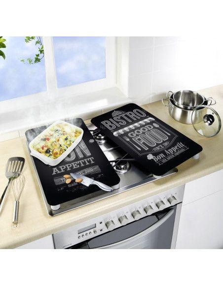 Planches à découper en verre - Lot de 2 couvre plaques universels - Bon appétit