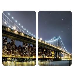 Planches à découper en verre - Lot de 2 couvre plaques universels - Brooklyn Bridge