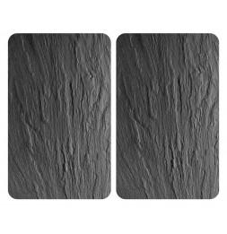 Planches à découper en verre - Lot de 2 couvre plaques universels - Effet ardoise