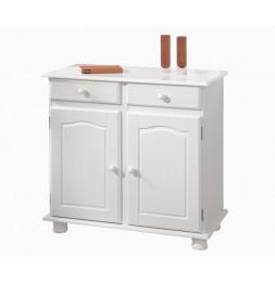 Commode Lovi - Pin massif teinté blanc