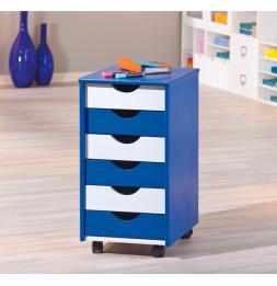 Caisson sur roulettes - Blanc et bleu - Beppo - Meuble 6 tiroirs pour bureau