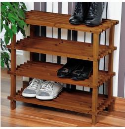 Range chaussures en bois - Etagère 4 niveaux