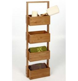 Meuble étagère 4 cases en bambou - Rangement salle de bain