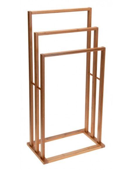 Porte serviette en bois - 3 portants - Accessoire de salle de bain
