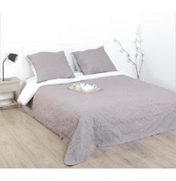 Dessus de lit et 2 taies d'oreillers arabesques - 240 x 260 cm - Taupe