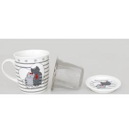 Mug + infuseur à thé + repose sachets - Félin - Ensemble à thé chats