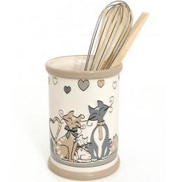 Ustensiles de cuisine en bois dans support en céramique - Décoration chats