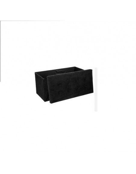 Pouf rectangle - Noir - Coffre de rangement