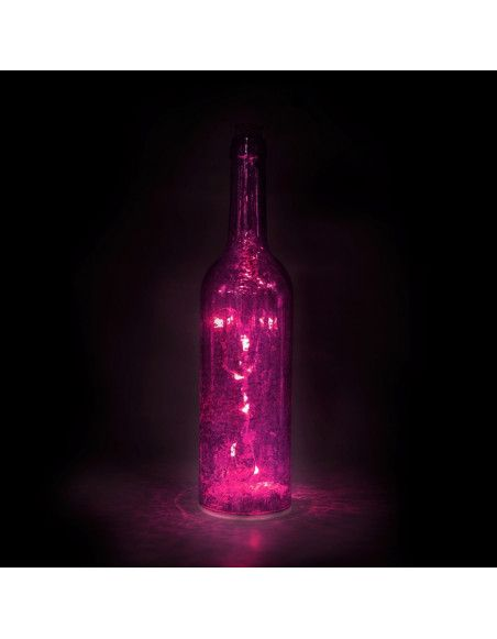 Bouteille lumineuse - Rose - Lampe d'ambiance