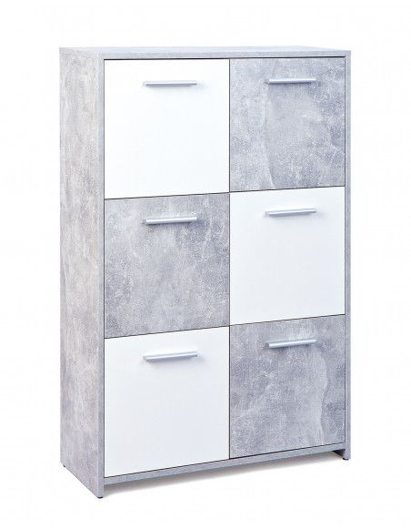 6 cubes de rangements - Debout - Gris et blanc