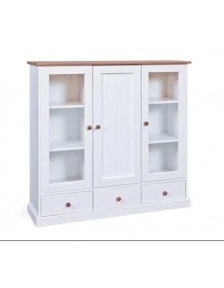 Bahut vaisselier - 3 portes 3 tiroirs - Blanc