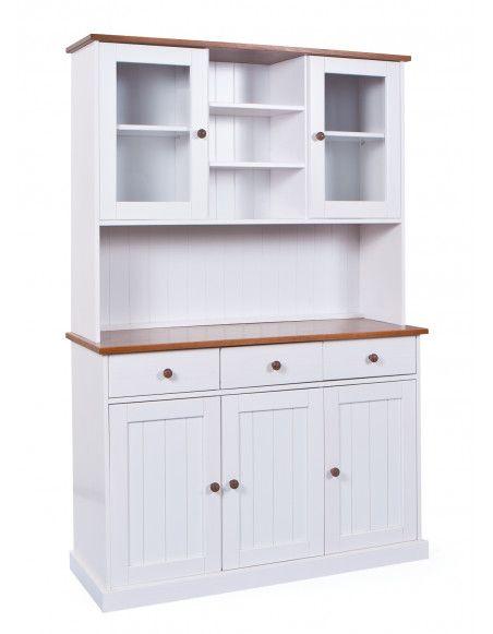 Bahut vaisselier - 5 portes 3 tiroirs - Blanc