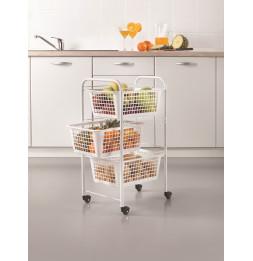 Chariot de cuisine à roulette - 3 paniers - Rangement de cuisine