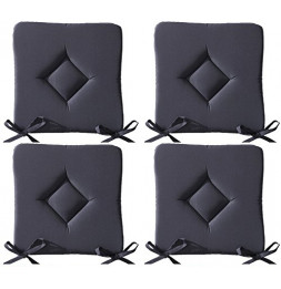 Galette de chaise - Lot de 4 - 40 x 40 cm - Gris anthracite