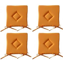 Galette de chaise - Lot de 4 - 40 x 40 cm - Orange