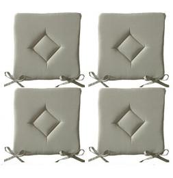 Galette de chaise - Lot de 4 - 40 x 40 cm - Beige mastic