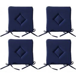 Galette de chaise - Lot de 4 - 40 x 40 cm - Bleu foncé
