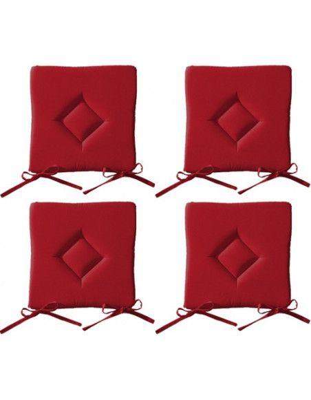Galette de chaise - Lot de 4 - 40 x 40 cm - Rouge