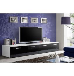Banc TV - DUO - 200 cm x 35 cm x 45 cm - Blanc et noir