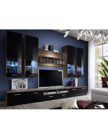 Ensemble meuble TV mural  - Dorade B - L 100 cm - 5 éléments - Prunieret noir