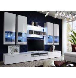 Ensemble meuble TV mural  - Dorade - L 100 cm - 5 éléments - Blanc