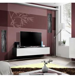 Banc TV - Fly I - 160 cm x 30 cm  x 40 cm - Noir et blanc